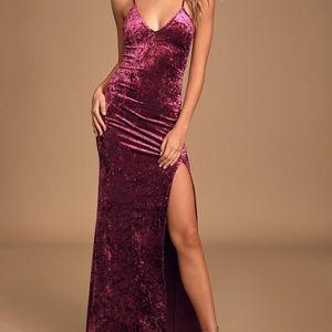 Lulus burgundy crush velvet maxi dress